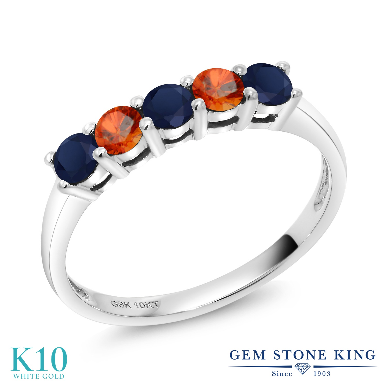Gem Stone King 0.65カラット 天然 サファイア 天然 オレンジサファイア 10金 ホワイトゴールド(K10) 指輪 リング レディース 小粒 バンド 天然石 9月 誕生石 金属アレルギー対応 誕生日プレゼント