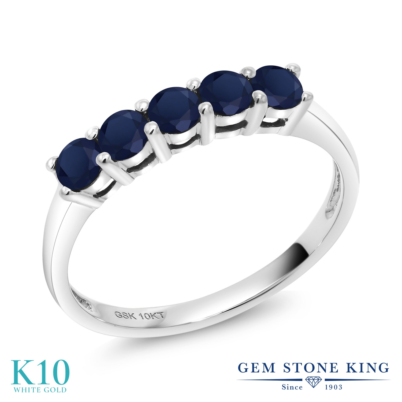 Gem Stone King 0.65カラット 天然 サファイア 10金 ホワイトゴールド(K10) 指輪 リング レディース 小粒 バンド 天然石 9月 誕生石 金属アレルギー対応 誕生日プレゼント