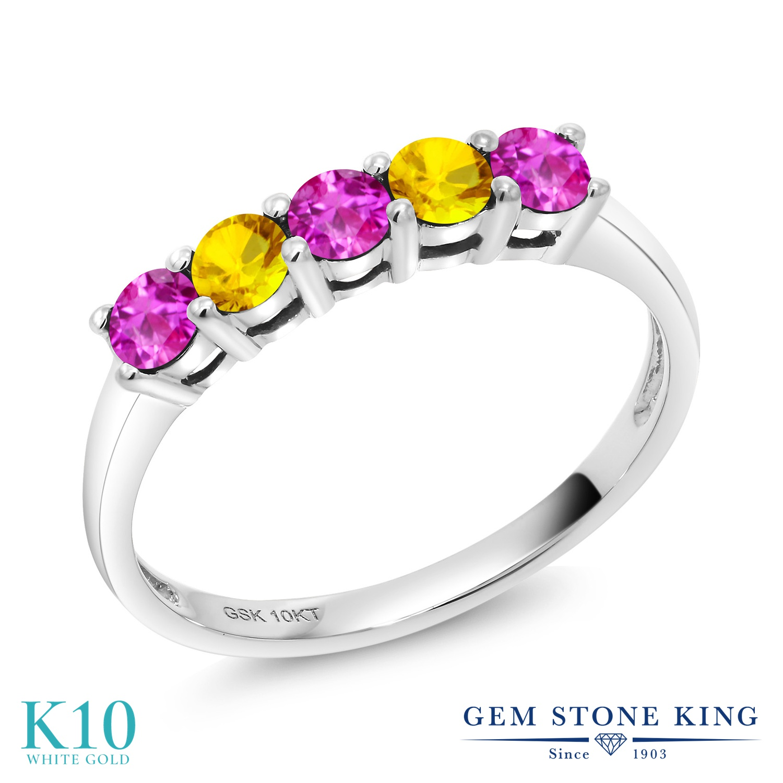 Gem Stone King 0.66カラット ピンクサファイア 天然 イエローサファイア 10金 ホワイトゴールド(K10) 指輪 リング レディース 小粒 バンド 9月 誕生石 金属アレルギー対応 誕生日プレゼント