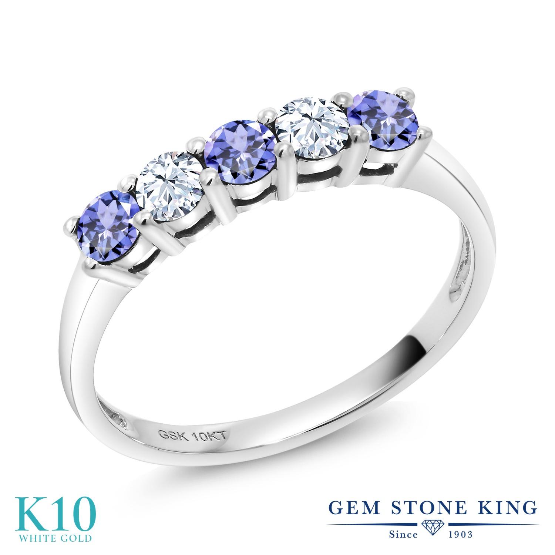 Gem Stone King 0.62カラット 天然石 タンザナイト 合成ホワイトサファイア (ダイヤのような無色透明) 10金 ホワイトゴールド(K10) 指輪 リング レディース 小粒 ハーフエタニティ 天然石 12月 誕生石 金属アレルギー対応 誕生日プレゼント
