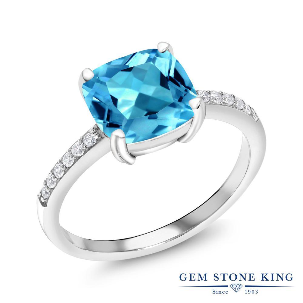 Gem Stone King 2.86カラット 天然トパーズ(スイスブルー) シルバー925 指輪 リング レディース 大粒 マルチストーン 天然石 誕生石 金属アレルギー対応 誕生日プレゼント