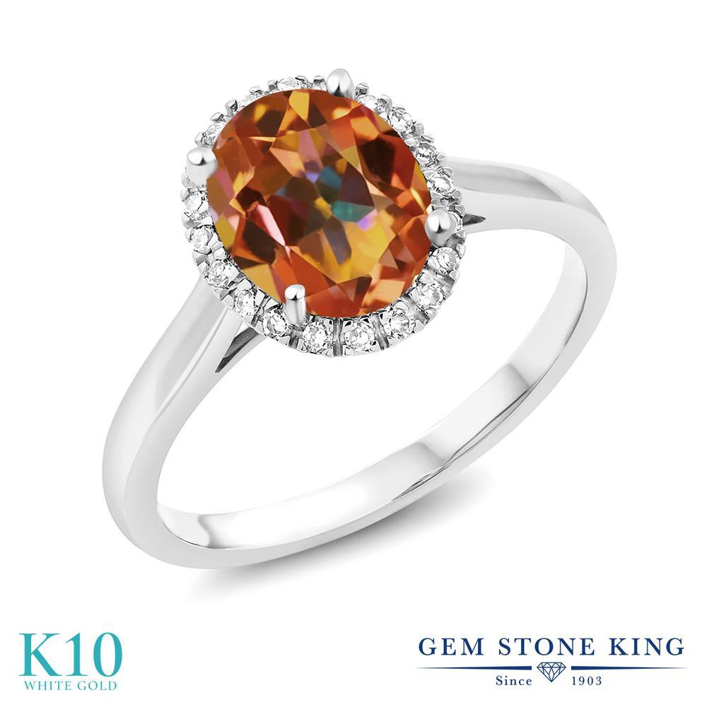 Gem Stone King 1.8カラット 天然石 エクスタシーミスティックトパーズ 10金 ホワイトゴールド(K10) 指輪 リング レディース 大粒 一粒 シンプル ヘイロー 天然石 金属アレルギー対応 誕生日プレゼント