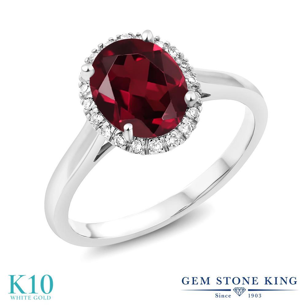 Gem Stone King 2カラット 天然ロードライトガーネット 10金 ホワイトゴールド(K10) 指輪 リング レディース 大粒 一粒 シンプル 天然石 誕生日プレゼント