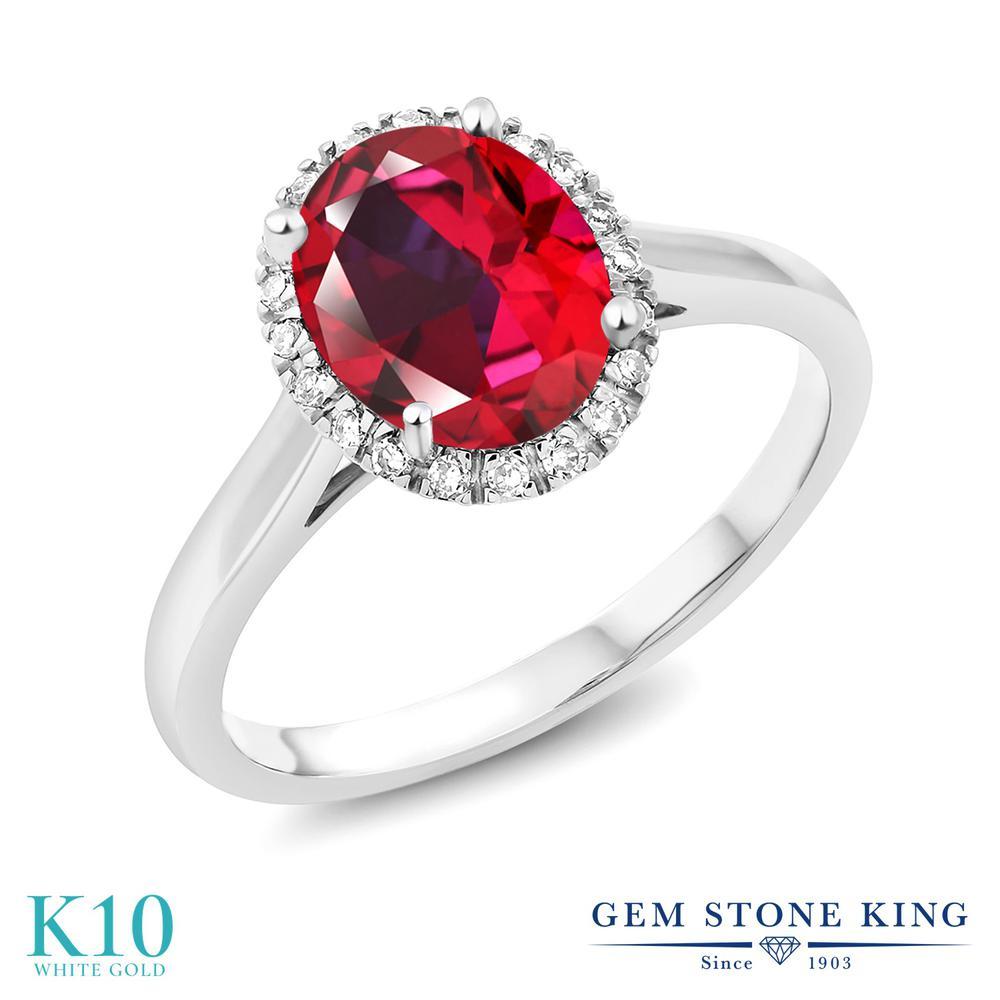 Gem Stone King 2カラット 天然石レッドトパーズ(スワロフスキー 天然石シリーズ) 10金 ホワイトゴールド(K10) 指輪 リング レディース 大粒 一粒 シンプル 天然石 誕生日プレゼント