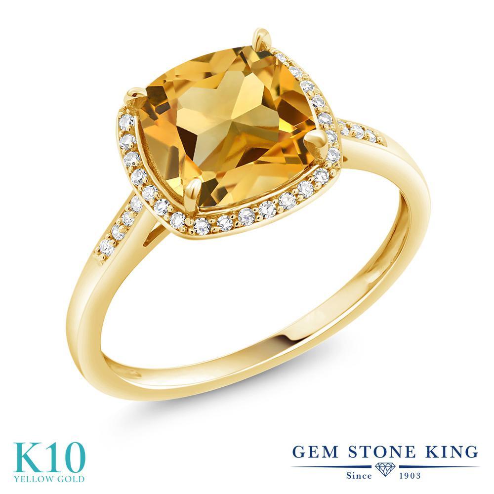 3カラット 天然 シトリン 指輪 レディース リング ダイヤモンド 10金 イエローゴールド K10 ブランド おしゃれ スクエア ヘイロー 黄色 大粒 細身 天然石 11月 誕生石 婚約指輪 エンゲージリング