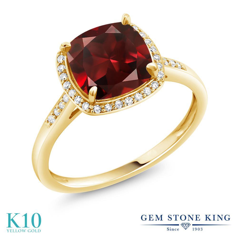 Gem Stone King 2.74カラット 天然 ガーネット 天然 ダイヤモンド 10金 イエローゴールド(K10) 指輪 リング レディース 大粒 ヘイロー 天然石 1月 誕生石 金属アレルギー対応 婚約指輪 エンゲージリング