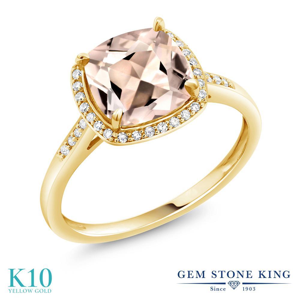 【クーポンで10%OFF】 Gem Stone King 1.88カラット 天然 モルガナイト (ピーチ) 天然 ダイヤモンド 10金 イエローゴールド(K10) 指輪 リング レディース 大粒 ヘイロー 天然石 3月 誕生石 金属アレルギー対応 誕生日プレゼント