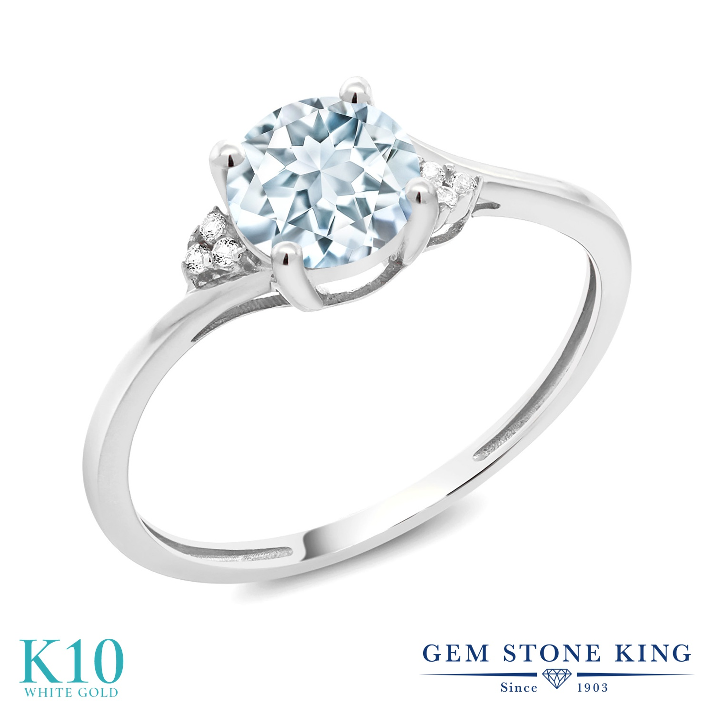 Gem Stone King 0.79カラット 天然アクアマリン 10金 ホワイトゴールド(K10) 天然ダイヤモンド 指輪 リング