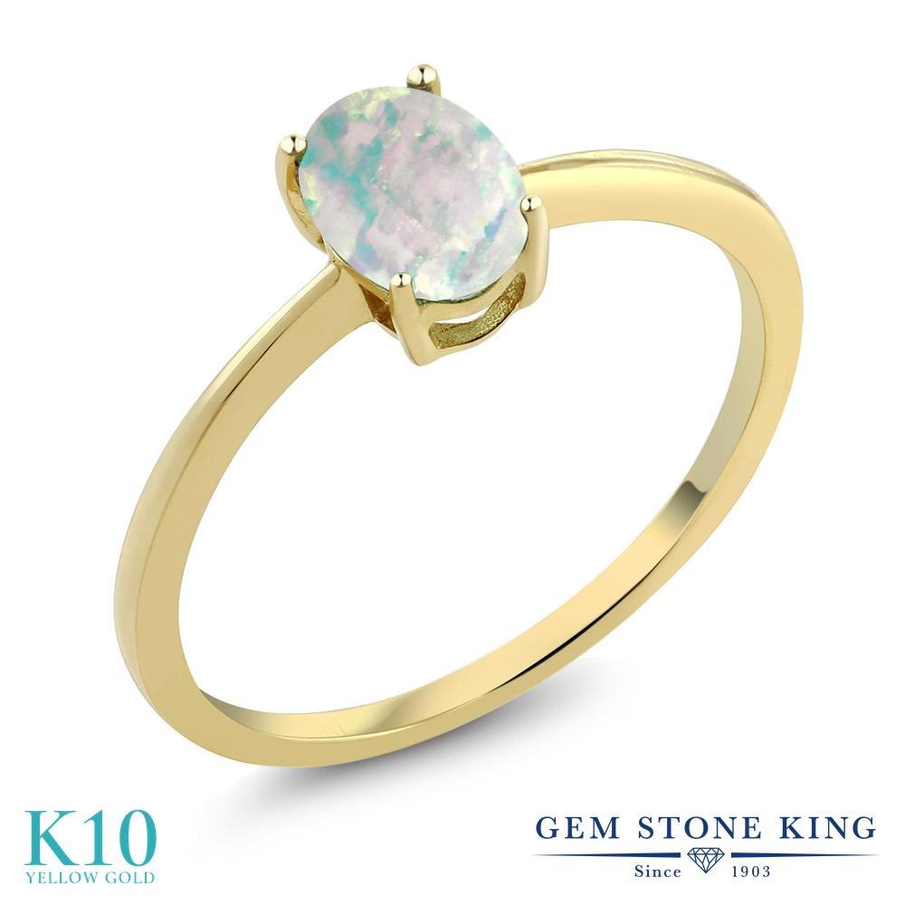 Gem Stone King 0.63カラット シミュレイテッド ホワイトオパール 10金 イエローゴールド(K10) 指輪 リング レディース 一粒 シンプル ソリティア 10月 誕生石 金属アレルギー対応 婚約指輪 エンゲージリング