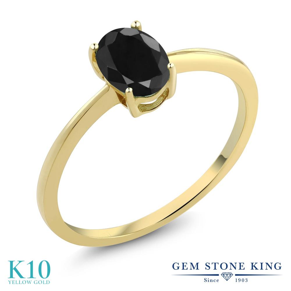 Gem Stone King 1.07カラット 天然 ブラックサファイア 10金 イエローゴールド(K10) 指輪 リング レディース 大粒 一粒 シンプル ソリティア 天然石 9月 誕生石 金属アレルギー対応 婚約指輪 エンゲージリング