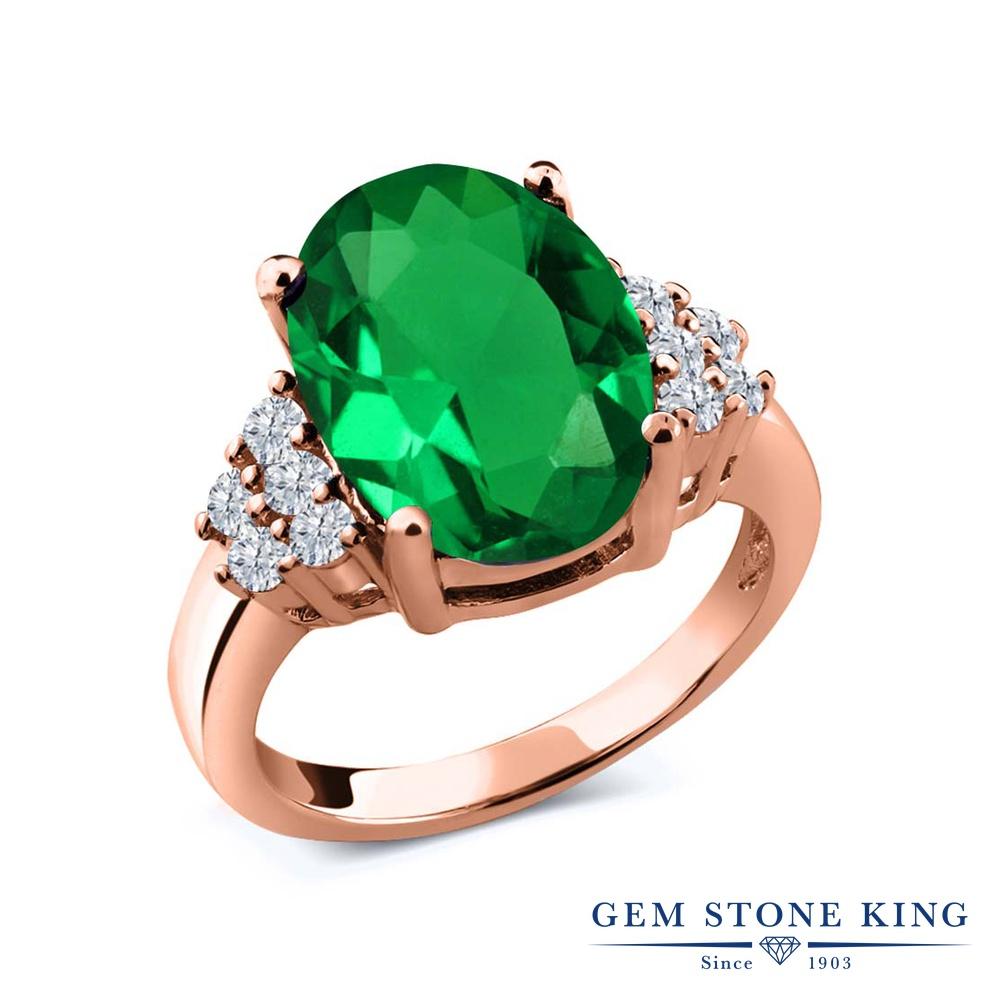 6.05カラット ナノエメラルド 指輪 レディース リング 天然 ダイヤモンド ピンクゴールド 加工 シルバー925 ブランド おしゃれ 緑 大粒 大ぶり 大きめ マルチストーン プレゼント 女性 彼女 妻 誕生日