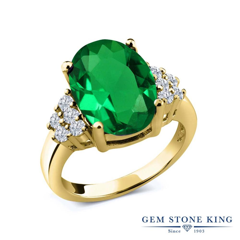 6.05カラット ナノエメラルド 指輪 レディース リング 天然 ダイヤモンド イエローゴールド 加工 シルバー925 ブランド おしゃれ 緑 大粒 大ぶり 大きめ マルチストーン プレゼント 女性 彼女 妻 誕生日