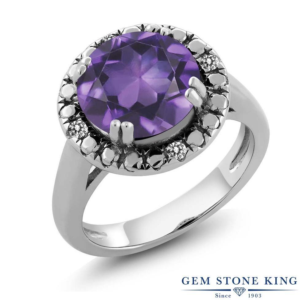 Gem Stone King 3.05カラット 天然 アメジスト 天然 ダイヤモンド シルバー925 指輪 リング レディース 大粒 ソリティア 天然石 2月 誕生石 金属アレルギー対応 誕生日プレゼント