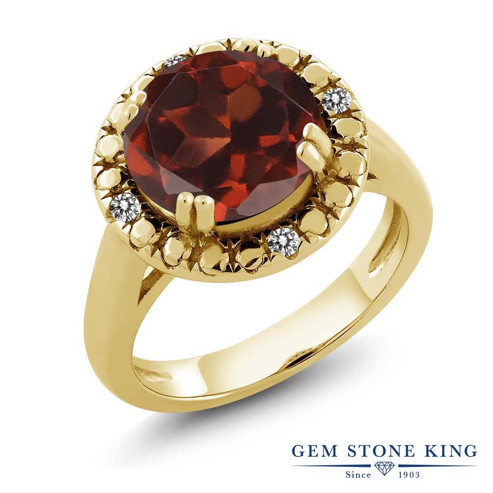 Gem Stone King 3.65カラット 天然 ガーネット 天然 ダイヤモンド シルバー925 イエローゴールドコーティング 指輪 リング レディース 大粒 ソリティア 天然石 1月 誕生石 金属アレルギー対応 誕生日プレゼント