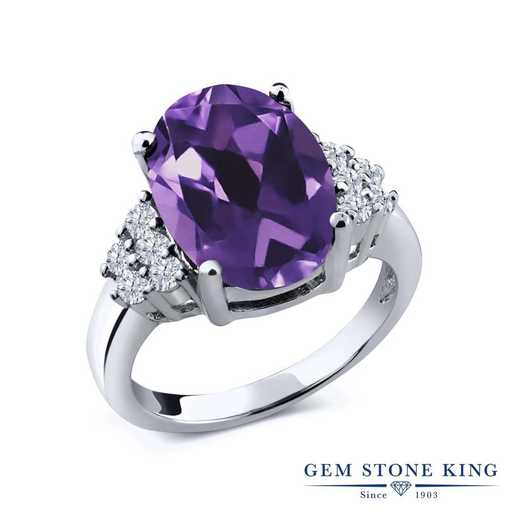 4.33カラット 天然 アメジスト 指輪 レディース リング ダイヤモンド シルバー925 ブランド おしゃれ アメシスト 紫 大粒 マルチストーン 天然石 2月 誕生石 プレゼント 女性 彼女 妻 誕生日
