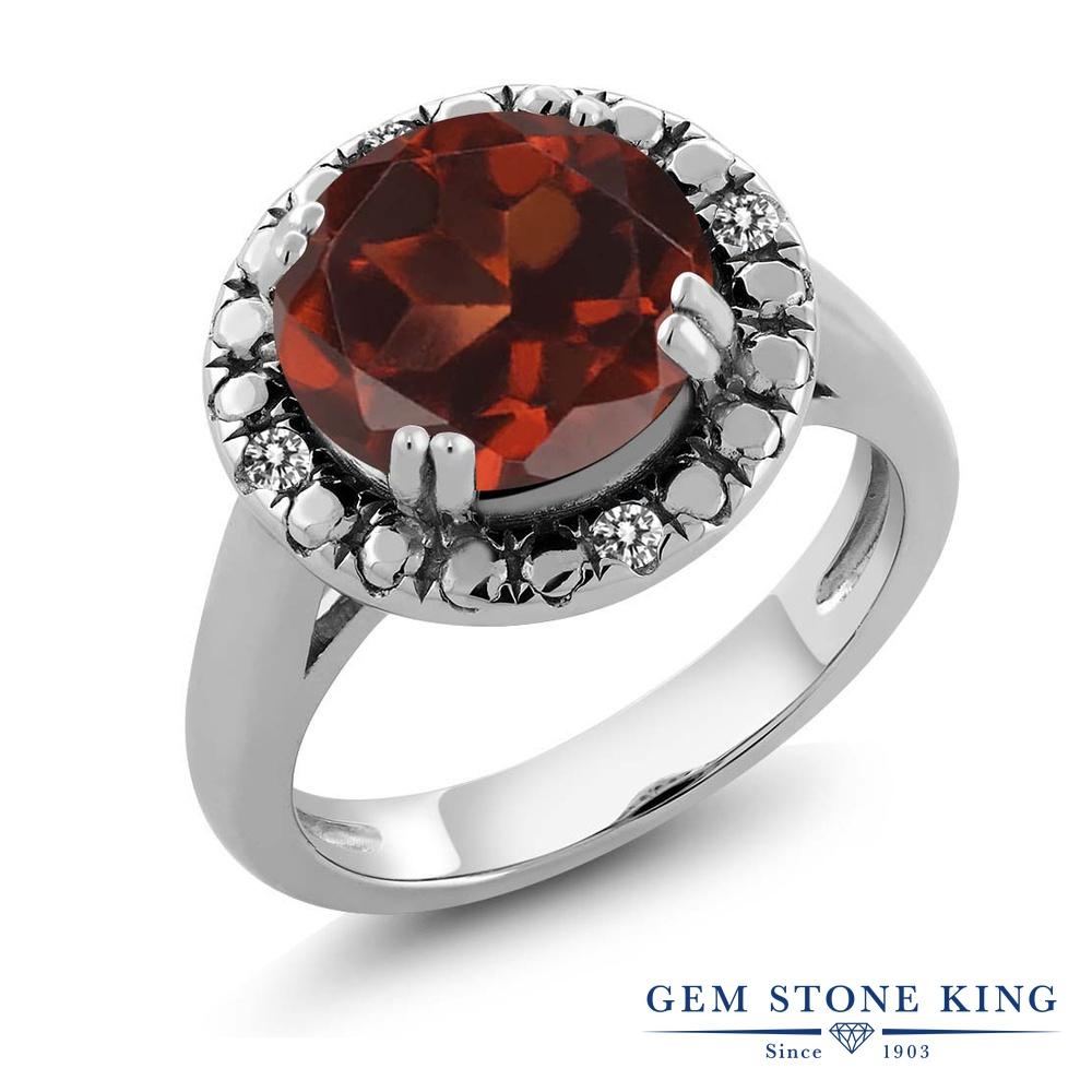 Gem Stone King 3.65カラット 天然 ガーネット 天然 ダイヤモンド シルバー925 指輪 リング レディース 大粒 ソリティア 天然石 1月 誕生石 金属アレルギー対応 誕生日プレゼント