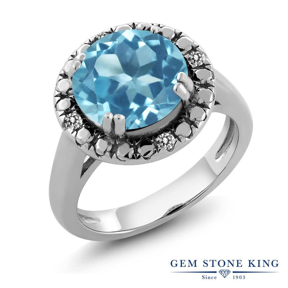 3.55カラット 天然 スイスブルートパーズ ダイヤモンド 指輪 リング レディース シルバー925 大粒 ソリティア 天然石 11月 誕生石 プレゼント 女性 彼女 妻 誕生日