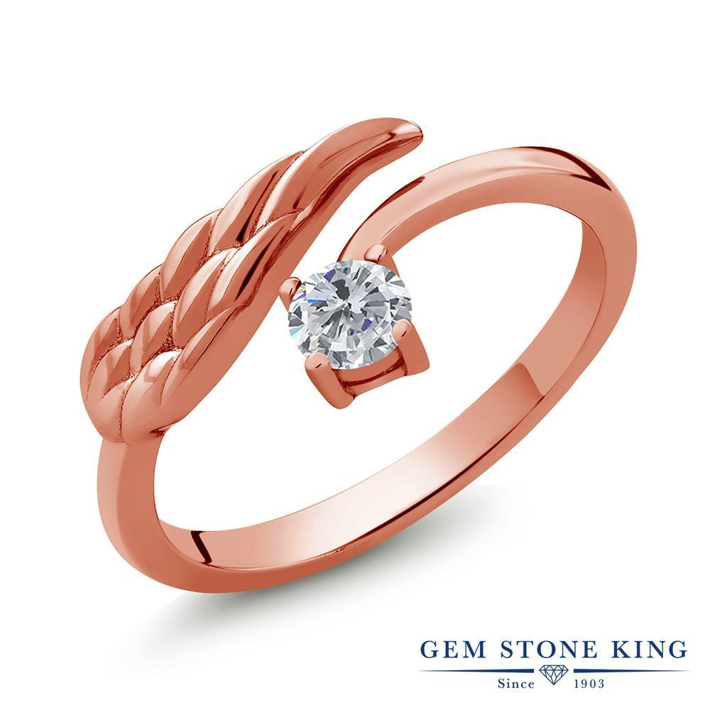 Gem Stone King 0.25カラット 天然ダイヤモンド シルバー 925 ローズゴールドコーティング 指輪 リング レディース 小粒 一粒 シンプル 天然石 誕生石 誕生日プレゼント