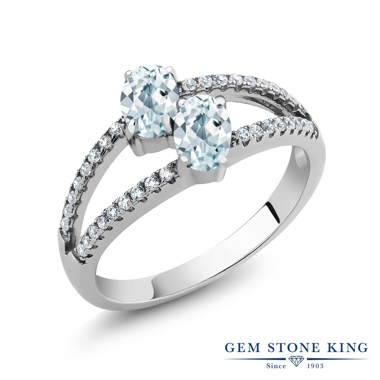 Gem Stone King 1.27カラット 天然 アクアマリン 指輪 リング レディース シルバー925 小粒 ダブルストーン 天然石 3月 誕生石 金属アレルギー対応