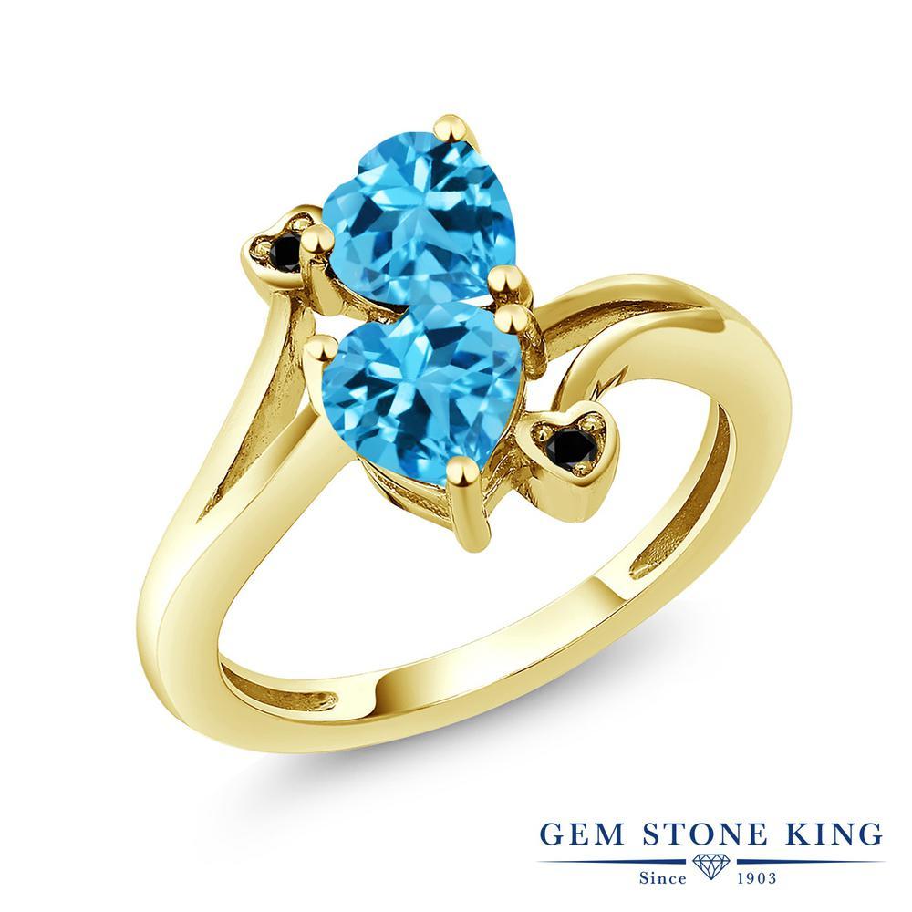 Gem Stone King 1.93カラット 天然トパーズ(スイスブルー) 天然ブラックダイヤモンド シルバー 925 イエローゴールドコーティング 天然ブラックダイヤモンド 指輪 リング レディース ダブルストーン 天然石 誕生石 金属アレルギー対応 誕生日プレゼント