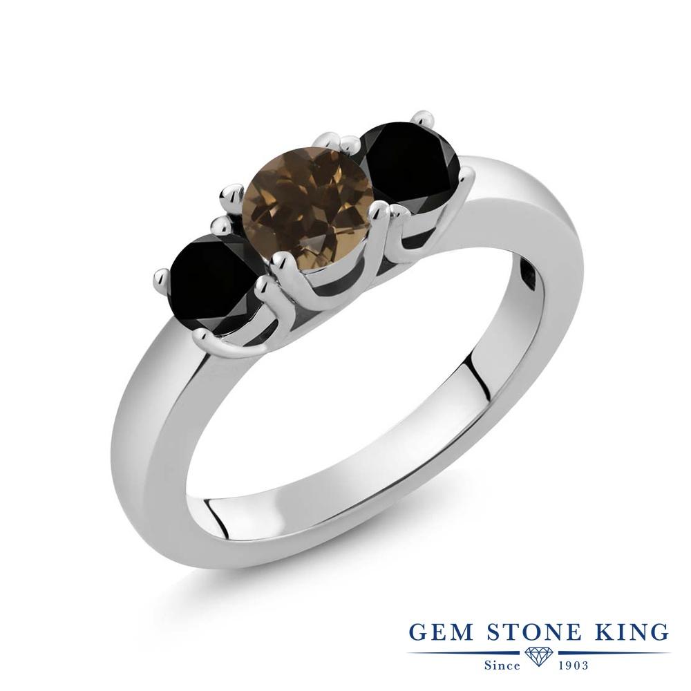 Gem Stone King 1カラット 天然 スモーキークォーツ (ブラウン) 天然ブラックダイヤモンド シルバー925 指輪 リング レディース 小粒 シンプル スリーストーン 天然石 金属アレルギー対応 誕生日プレゼント