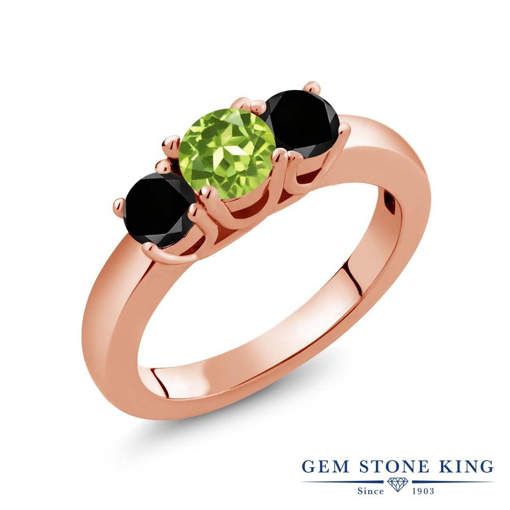1.04カラット 天然石 ペリドット 指輪 レディース リング ブラックダイヤモンド ピンクゴールド 加工 シルバー925 ブランド おしゃれ 3連 緑 小粒 シンプル スリーストーン 8月 誕生石 プレゼント 女性 彼女 妻 誕生日