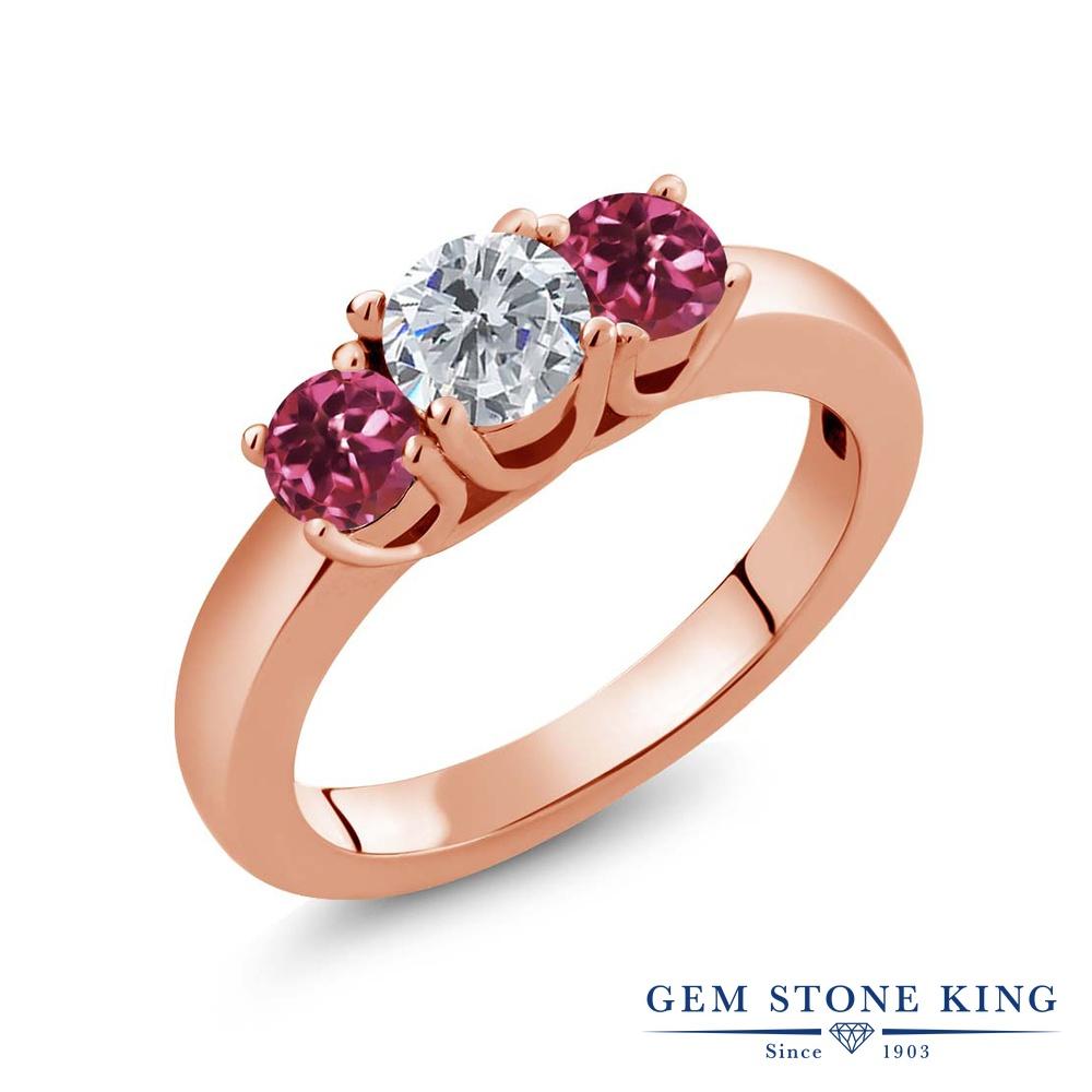 0.98カラット 天然 ダイヤモンド 指輪 レディース リング ピンクトルマリン ピンクゴールド 加工 シルバー925 ブランド おしゃれ 3連 ダイヤ 小粒 シンプル スリーストーン 天然石 4月 誕生石 プレゼント 女性 彼女 妻 誕生日