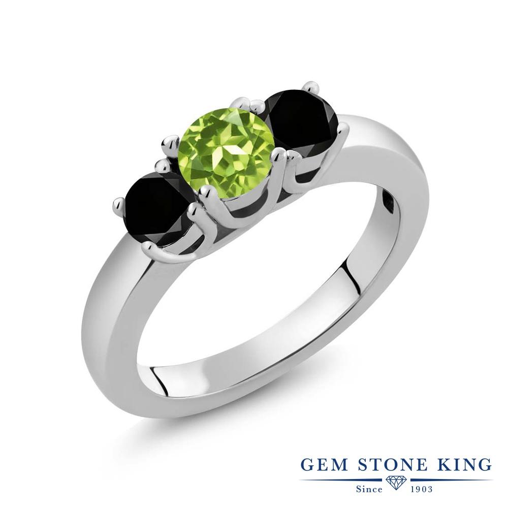 1.04カラット 天然石 ペリドット 指輪 レディース リング ブラックダイヤモンド シルバー925 ブランド おしゃれ 3連 緑 小粒 シンプル スリーストーン 8月 誕生石 プレゼント 女性 彼女 妻 誕生日