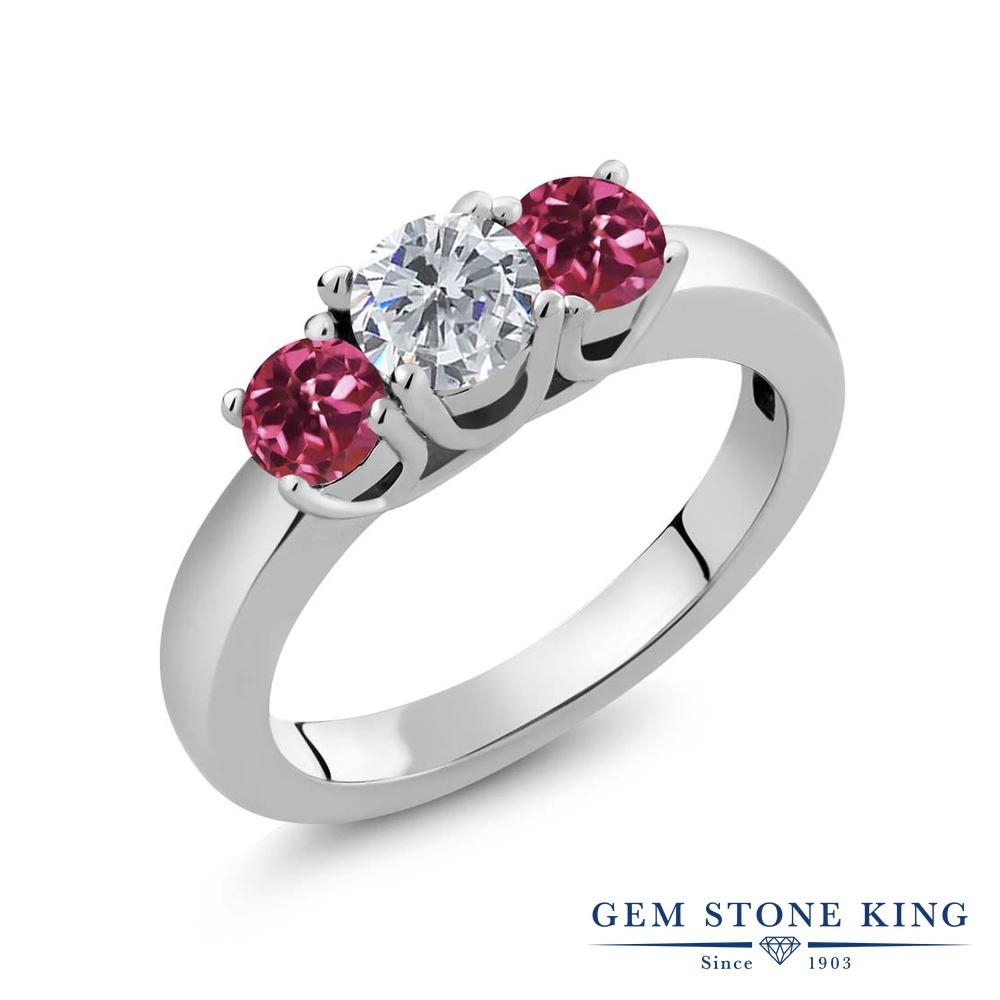 0.98カラット 天然 ダイヤモンド 指輪 レディース リング ピンクトルマリン シルバー925 ブランド おしゃれ 3連 ダイヤ 小粒 シンプル スリーストーン 天然石 4月 誕生石 プレゼント 女性 彼女 妻 誕生日