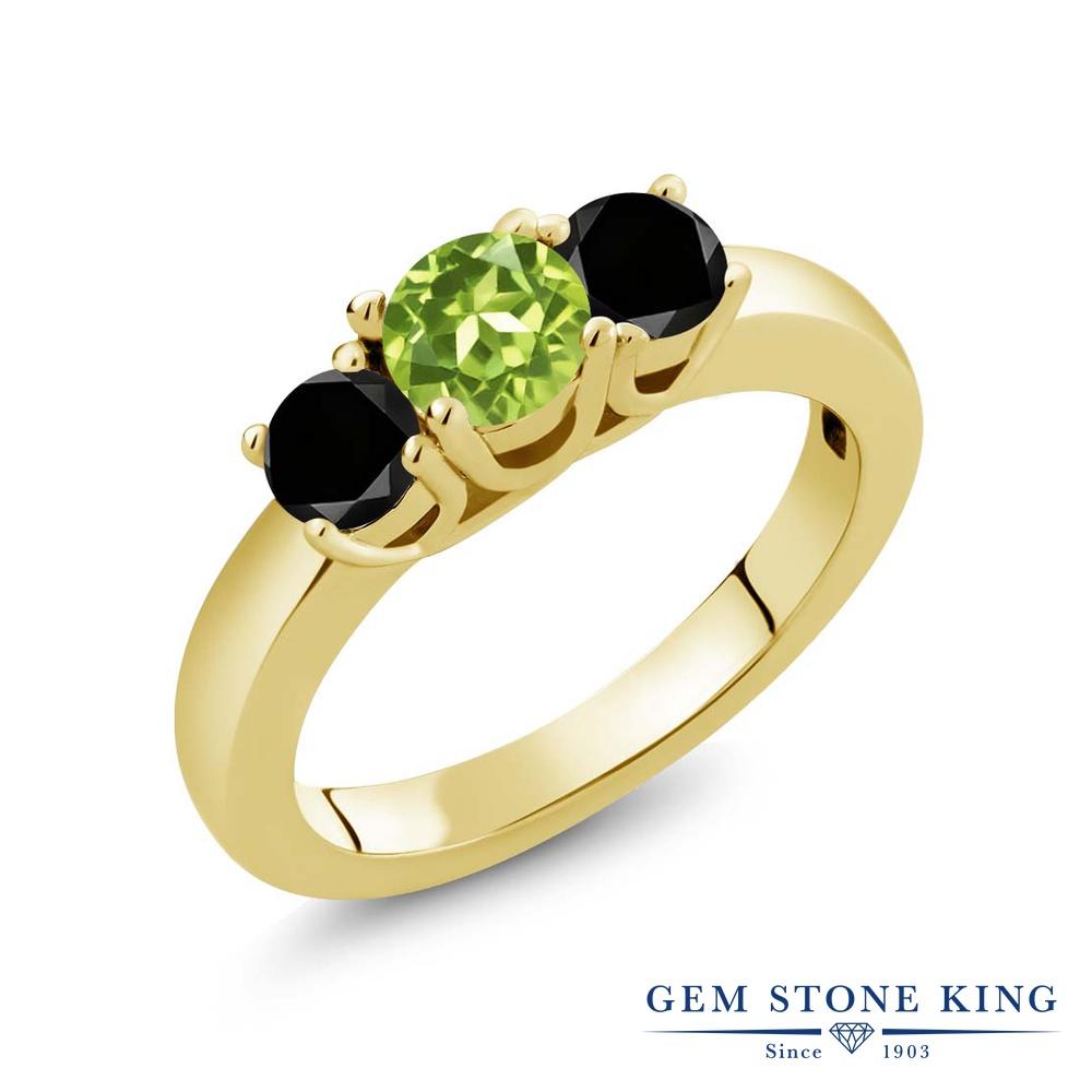 1.04カラット 天然石 ペリドット 指輪 レディース リング ブラックダイヤモンド イエローゴールド 加工 シルバー925 ブランド おしゃれ 3連 緑 小粒 シンプル スリーストーン 8月 誕生石 プレゼント 女性 彼女 妻 誕生日