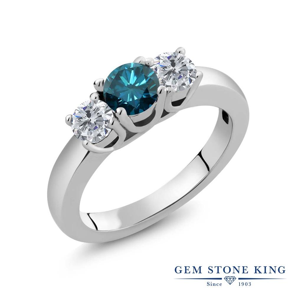 1.05カラット 天然 ブルーダイヤモンド 指輪 レディース リング シルバー925 ブランド おしゃれ 3連 ブルー ダイヤ 青 シンプル スリーストーン 天然石 4月 誕生石 プレゼント 女性 彼女 妻 誕生日