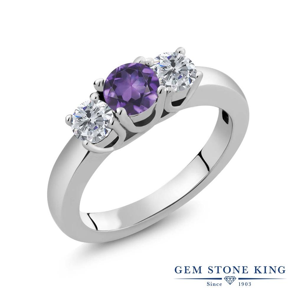 【クーポンで10%OFF】 Gem Stone King 4.5カラット 天然 アメジスト 天然 ダイヤモンド シルバー925 指輪 リング レディース 大粒 シンプル スリーストーン 天然石 2月 誕生石 金属アレルギー対応 誕生日プレゼント