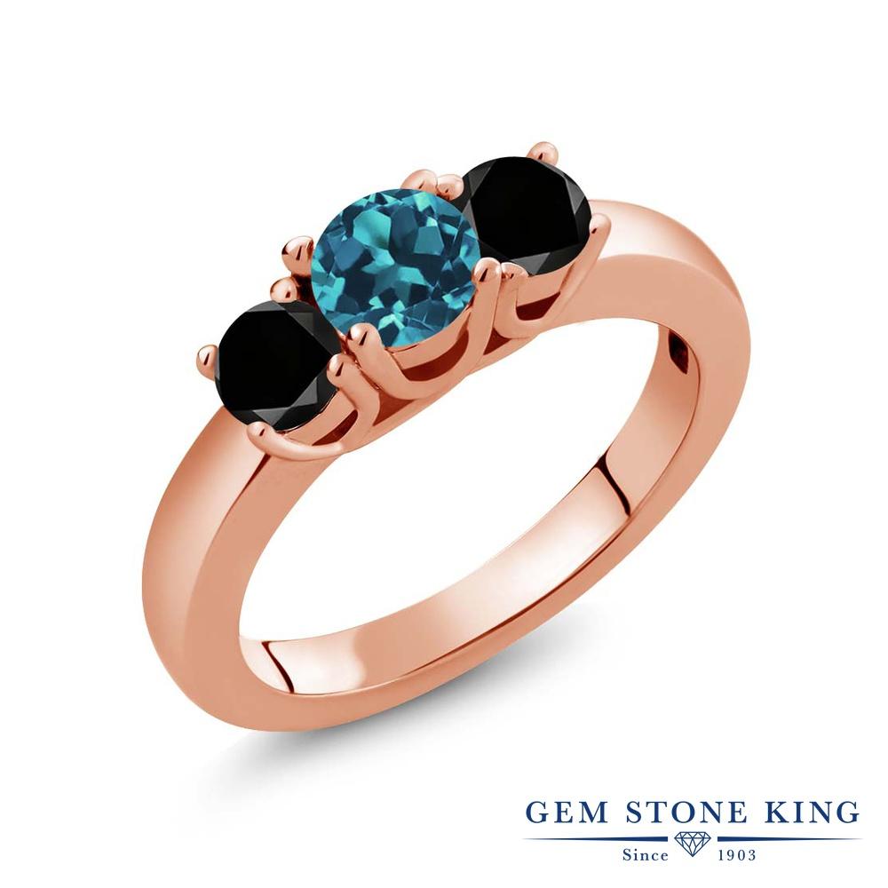 1.04カラット 天然 ロンドンブルートパーズ 指輪 レディース リング ブラックダイヤモンド ピンクゴールド 加工 シルバー925 ブランド おしゃれ 3連 小粒 シンプル スリーストーン 天然石 11月 誕生石 プレゼント 女性 彼女 妻 誕生日