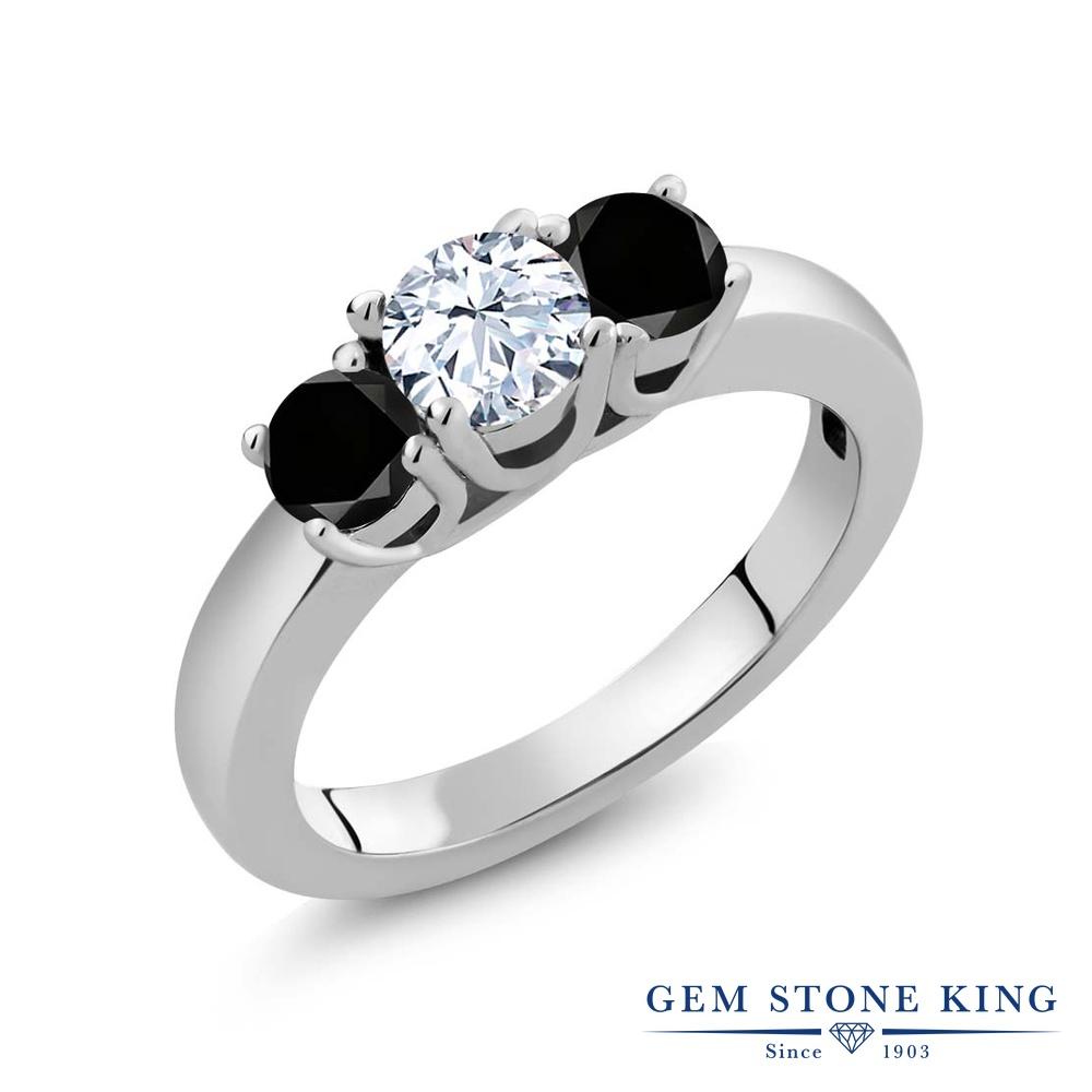 1.04カラット 天然 トパーズ 指輪 レディース リング ブラックダイヤモンド シルバー925 ブランド おしゃれ 3連 白 小粒 シンプル スリーストーン 天然石 11月 誕生石 プレゼント 女性 彼女 妻 誕生日