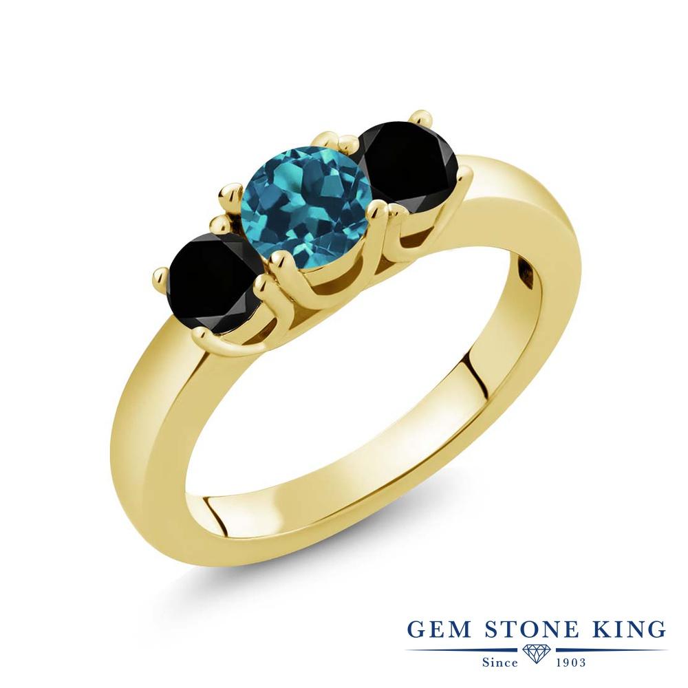 【10%OFF】 Gem Stone King 1.04カラット 天然 ロンドンブルートパーズ ブラックダイヤモンド 指輪 リング レディース シルバー925 イエローゴールド 加工 小粒 シンプル スリーストーン 天然石 11月 誕生石 クリスマスプレゼント 女性 彼女 妻 誕生日