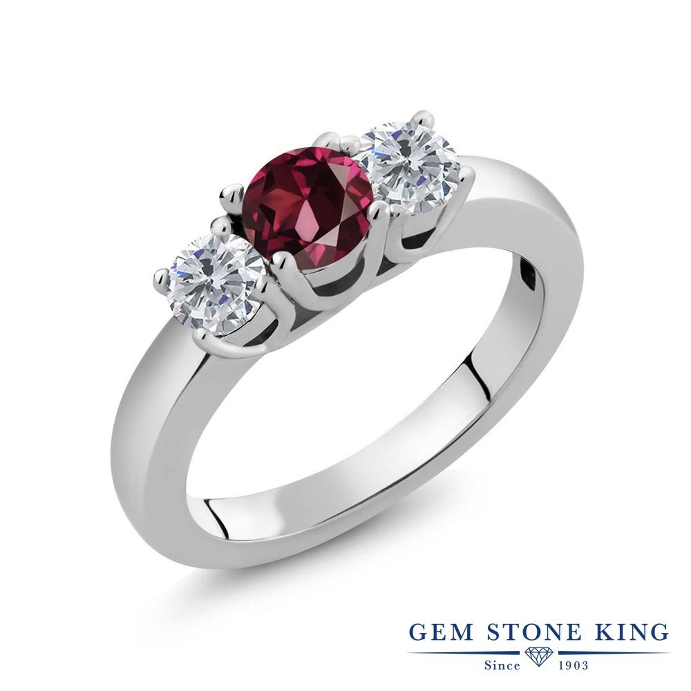 【クーポンで10%OFF】 Gem Stone King 1.1カラット 天然 ロードライトガーネット 天然 ダイヤモンド シルバー925 指輪 リング レディース シンプル スリーストーン 天然石 金属アレルギー対応 誕生日プレゼント