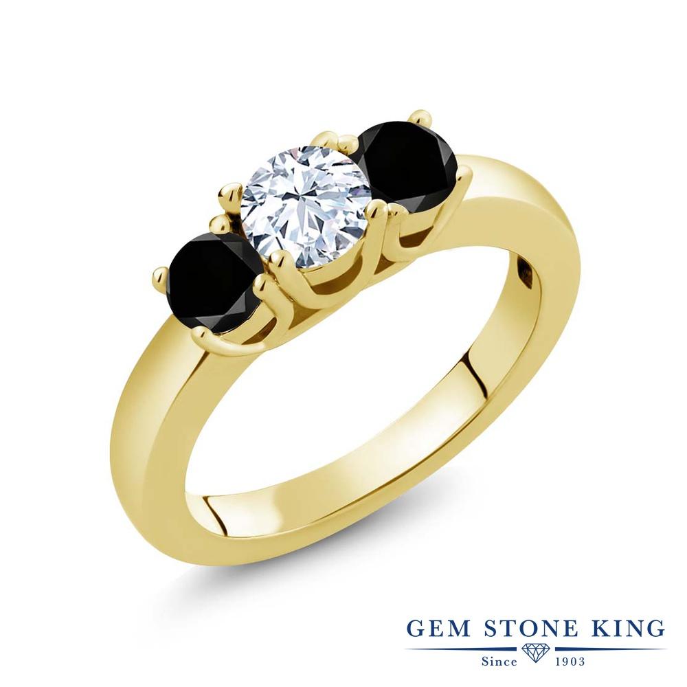 1.04カラット 天然 トパーズ 指輪 レディース リング ブラックダイヤモンド イエローゴールド 加工 シルバー925 ブランド おしゃれ 3連 白 小粒 シンプル スリーストーン 天然石 11月 誕生石 プレゼント 女性 彼女 妻 誕生日
