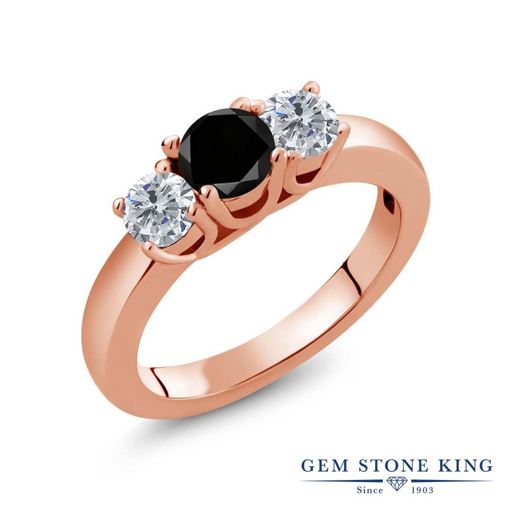 1.05カラット ブラックダイヤモンド 指輪 レディース リング ピンクゴールド 加工 シルバー925 ブランド おしゃれ 3連 ブラック ダイヤ 黒 シンプル スリーストーン 天然石 4月 誕生石 プレゼント 女性 彼女 妻 誕生日