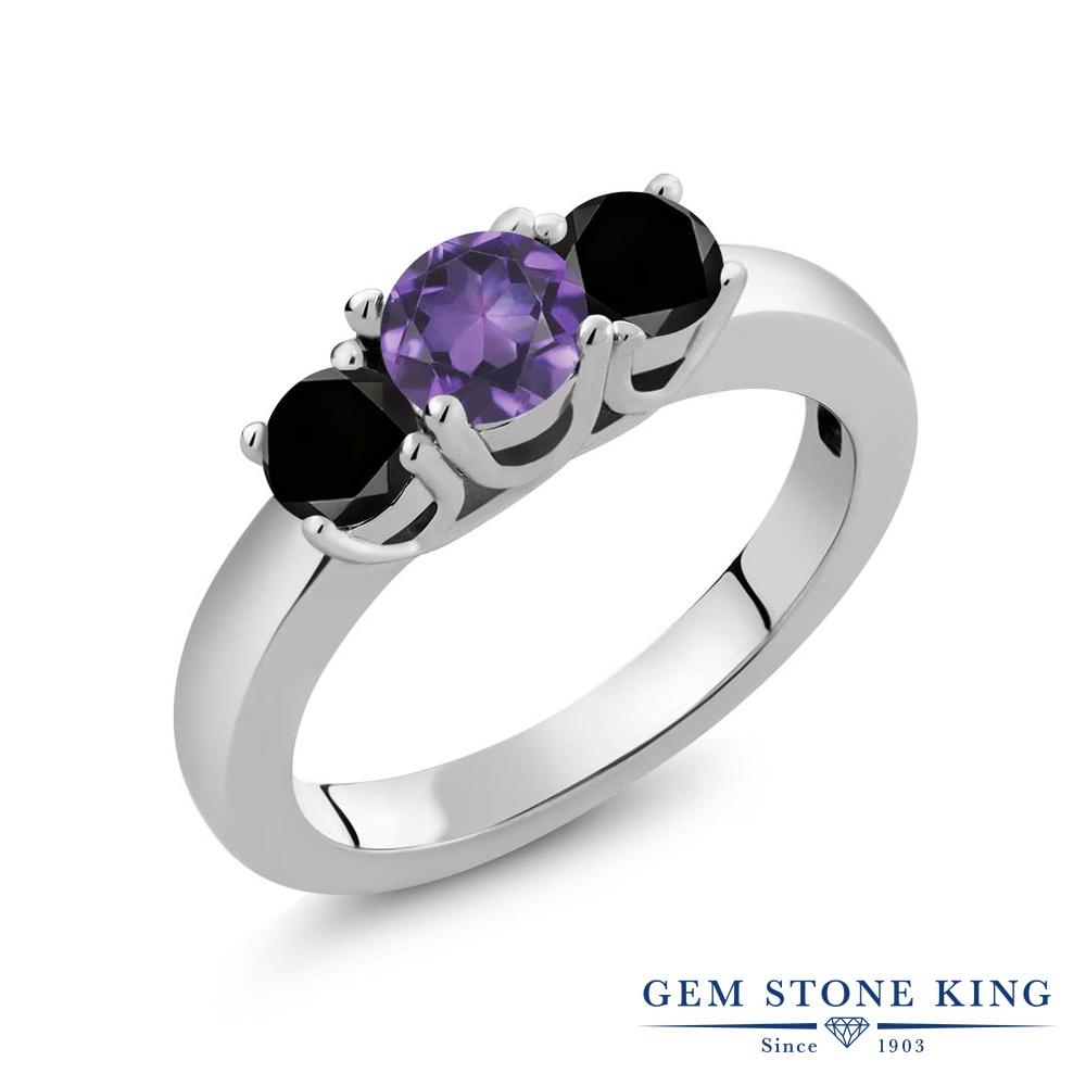 Gem Stone King 4.54カラット 天然 アメジスト 天然ブラックダイヤモンド シルバー925 指輪 リング レディース 大粒 シンプル スリーストーン 天然石 2月 誕生石 金属アレルギー対応 誕生日プレゼント