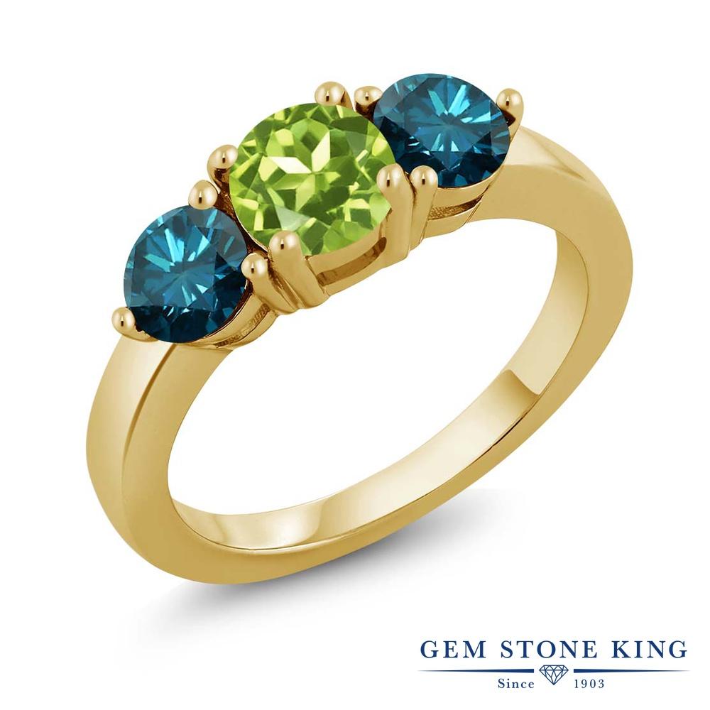 2カラット 天然石 ペリドット 指輪 レディース リング 天然 ブルーダイヤモンド イエローゴールド 加工 シルバー925 ブランド おしゃれ 3連 緑 シンプル スリーストーン 8月 誕生石 プレゼント 女性 彼女 妻 誕生日