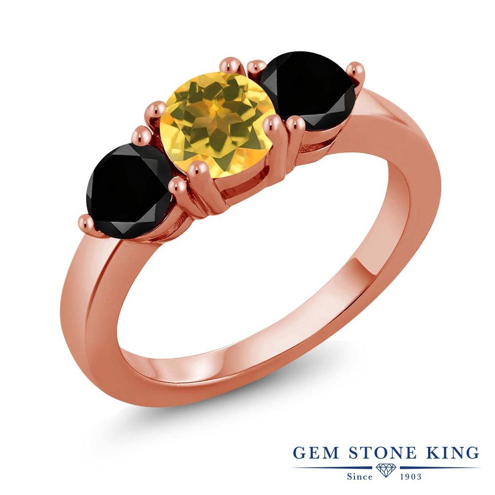 Gem Stone King 1.80カラット 天然シトリン シルバー 925 ローズゴールドコーティング 天然ブラックダイヤモンド 指輪 リング レディース シンプル 天然石 誕生石 誕生日プレゼント