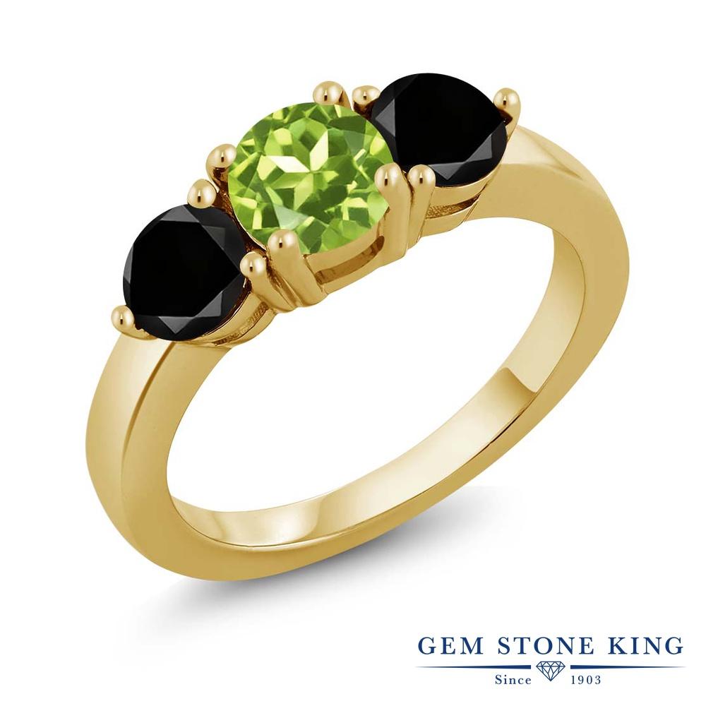 Gem Stone King 2.00カラット 天然石ペリドット シルバー 925 イエローゴールドコーティング 天然ブラックダイヤモンド 指輪 リング レディース シンプル 天然石 誕生石 誕生日プレゼント