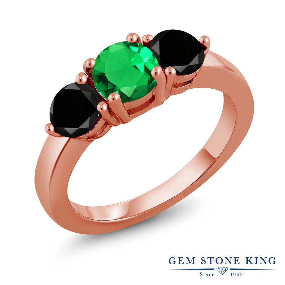 Gem Stone King 1.87カラット シルバー 925 ローズゴールドコーティング 天然ブラックダイヤモンド 指輪 リング レディース シンプル 誕生日プレゼント