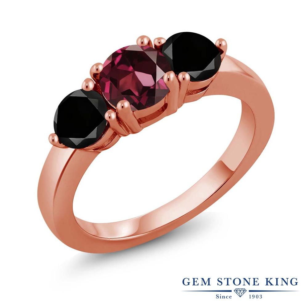 Gem Stone King 2.10カラット 天然ロードライトガーネット シルバー 925 ローズゴールドコーティング 天然ブラックダイヤモンド 指輪 リング レディース 大粒 シンプル 天然石 誕生日プレゼント