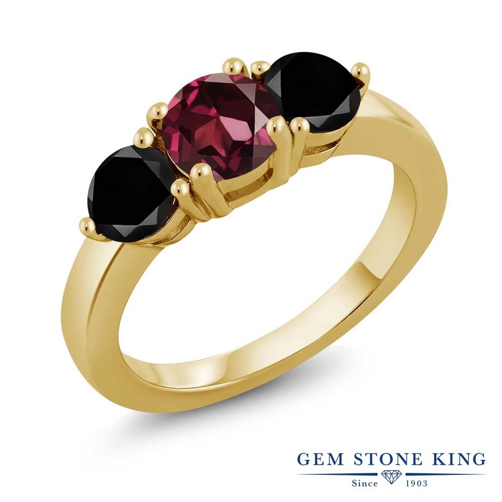 Gem Stone King 2.10カラット 天然ロードライトガーネット シルバー 925 イエローゴールドコーティング 天然ブラックダイヤモンド 指輪 リング レディース 大粒 シンプル 天然石 誕生日プレゼント