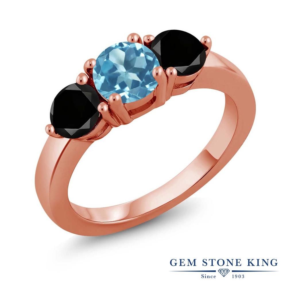 Gem Stone King 2.10カラット 天然トパーズ(スイスブルー) シルバー 925 ローズゴールドコーティング 天然ブラックダイヤモンド 指輪 リング レディース 大粒 シンプル 天然石 誕生石 誕生日プレゼント
