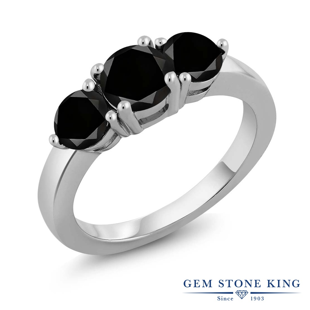 【クーポンで10%OFF】 Gem Stone King 2.15カラット 天然ブラックダイヤモンド シルバー925 指輪 リング レディース ブラック ダイヤ 大粒 シンプル スリーストーン 天然石 4月 誕生石 金属アレルギー対応 誕生日プレゼント