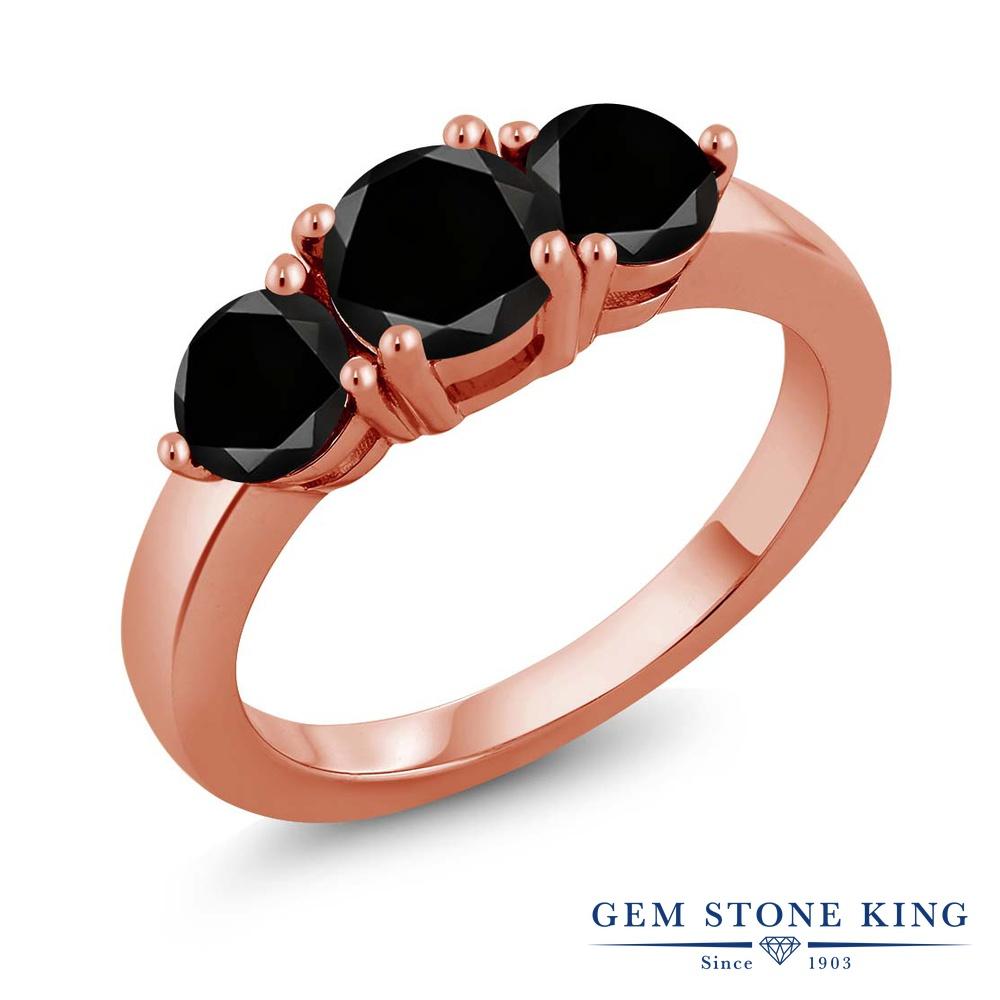 【クーポンで10%OFF】 Gem Stone King 2.15カラット 天然ブラックダイヤモンド シルバー925 ピンクゴールドコーティング 指輪 リング レディース ブラック ダイヤ 大粒 シンプル スリーストーン 天然石 4月 誕生石 金属アレルギー対応 誕生日プレゼント