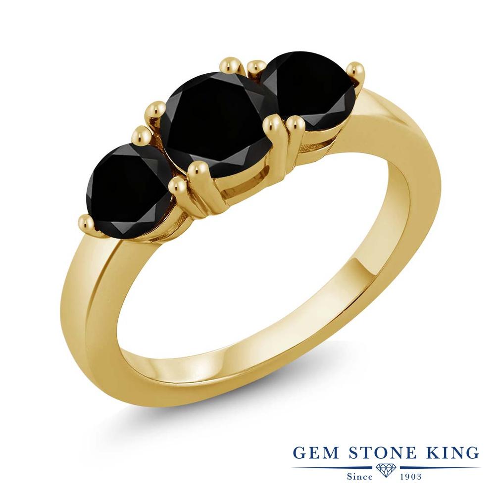 【クーポンで10%OFF】 Gem Stone King 2.15カラット 天然ブラックダイヤモンド シルバー925 イエローゴールドコーティング 指輪 リング レディース ブラック ダイヤ 大粒 シンプル スリーストーン 天然石 4月 誕生石 金属アレルギー対応 誕生日プレゼント