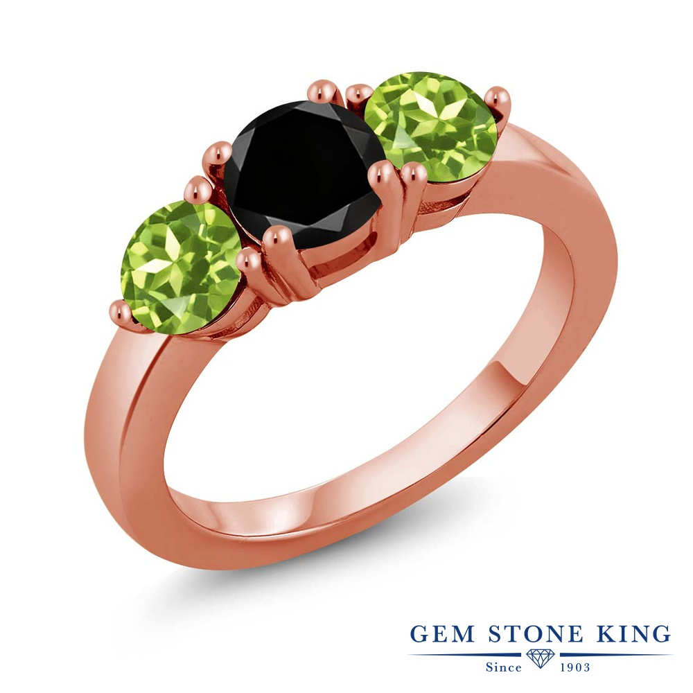 Gem Stone King 2.25カラット 天然ブラックダイヤモンド 天然石 ペリドット シルバー925 ピンクゴールドコーティング 指輪 リング レディース ブラック ダイヤ 大粒 シンプル スリーストーン 4月 誕生石 金属アレルギー対応 誕生日プレゼント
